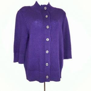 Chaps Purple Popcorn Knit Button Up Cardigan